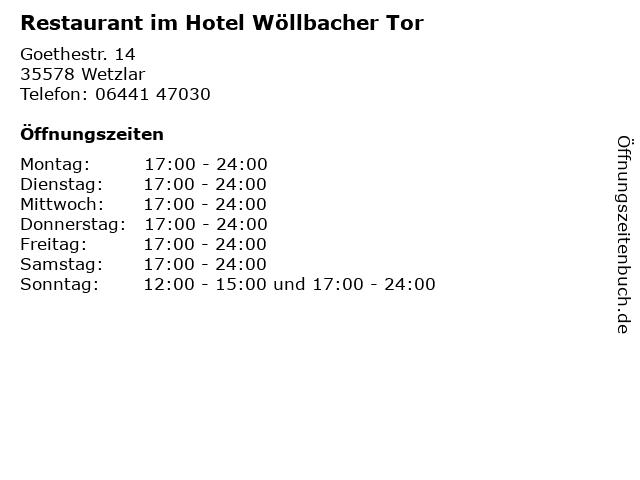 Restaurant im Hotel Wöllbacher Tor in Wetzlar: Adresse und Öffnungszeiten
