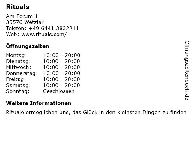 Rituals Cosmetics Germany GmbH in Wetzlar: Adresse und Öffnungszeiten