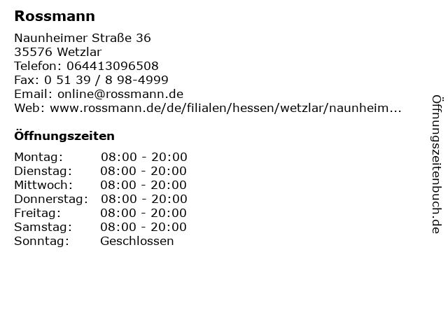Rossmann in Wetzlar: Adresse und Öffnungszeiten