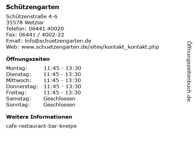 Schützengarten in Wetzlar: Adresse und Öffnungszeiten