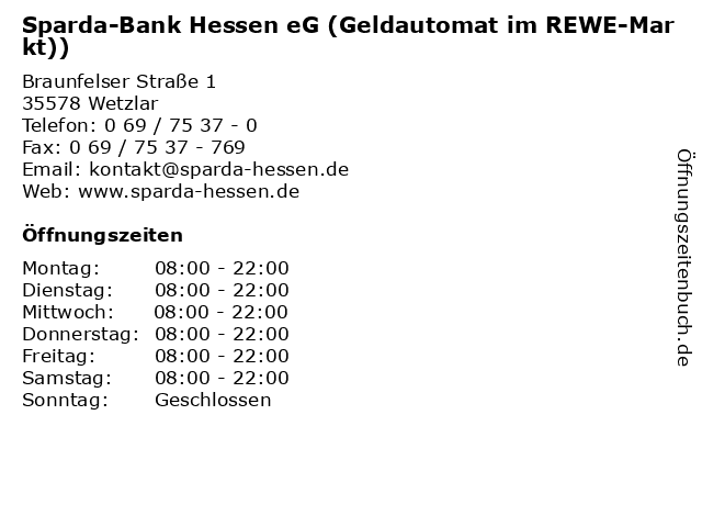 Sparda-Bank Hessen eG (Geldautomat im REWE-Markt)) in Wetzlar: Adresse und Öffnungszeiten