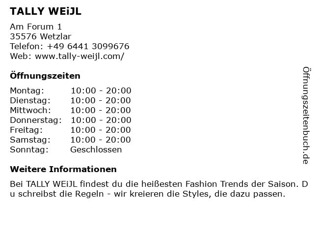 Tally Weijl Retail Germany GmbH in Wetzlar: Adresse und Öffnungszeiten