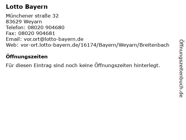 Lotto Bayern in Weyarn: Adresse und Öffnungszeiten