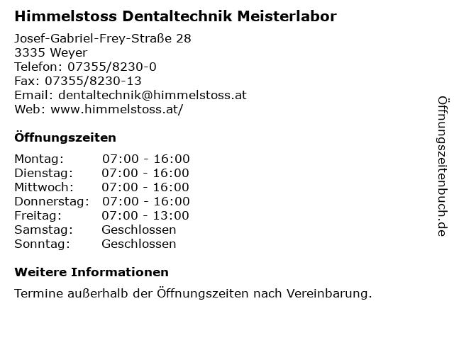 Himmelstoss Dentaltechnik Meisterlabor in Weyer: Adresse und Öffnungszeiten