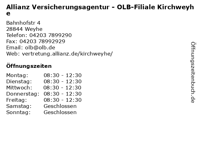 Allianz Versicherungsagentur - OLB-Filiale Kirchweyhe in Weyhe: Adresse und Öffnungszeiten