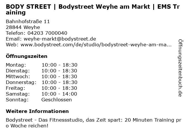Bodystreet Weyhe am Markt in Weyhe: Adresse und Öffnungszeiten