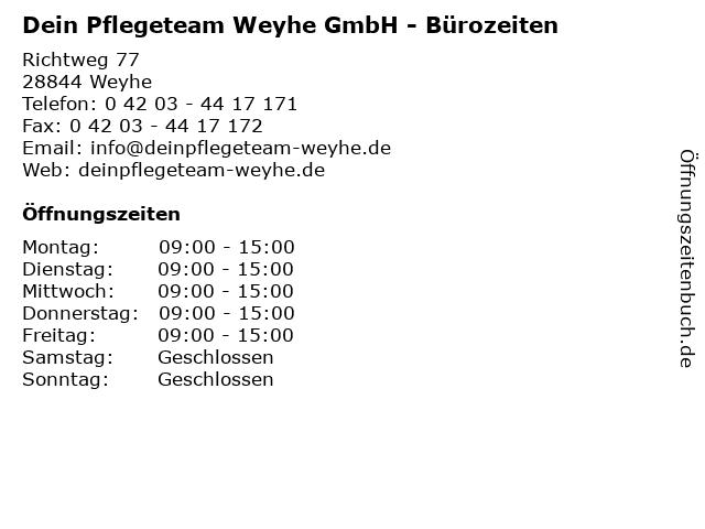 Dein Pflegeteam Weyhe GmbH - Bürozeiten in Weyhe: Adresse und Öffnungszeiten