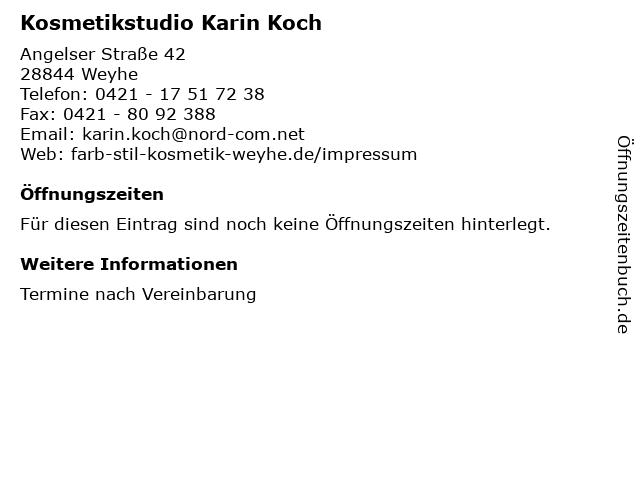 Kosmetikstudio Karin Koch in Weyhe: Adresse und Öffnungszeiten