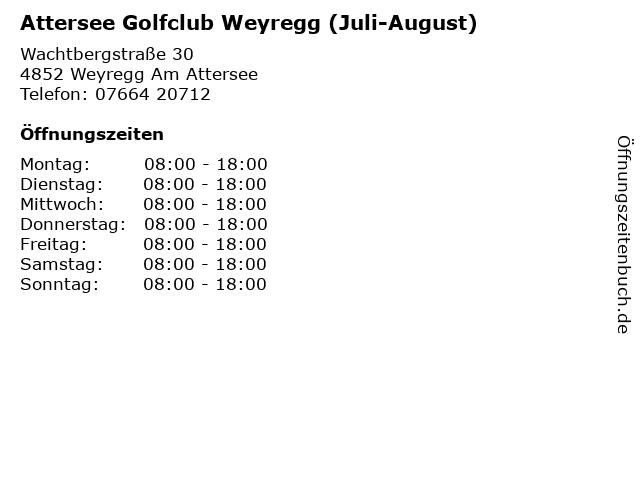 Attersee Golfclub Weyregg (Juli-August) in Weyregg Am Attersee: Adresse und Öffnungszeiten