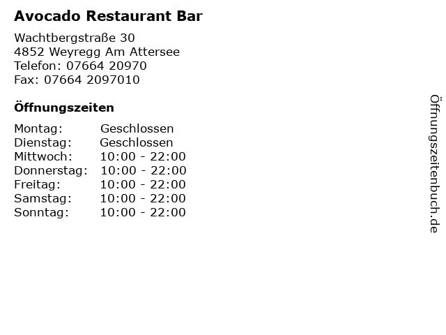 Avocado Restaurant Bar in Weyregg Am Attersee: Adresse und Öffnungszeiten