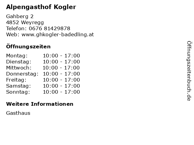 Alpengasthof Kogler in Weyregg: Adresse und Öffnungszeiten