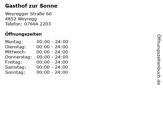 Gasthof zur Sonne in Weyregg: Adresse und Öffnungszeiten