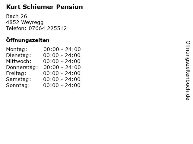 Kurt Schiemer Pension in Weyregg: Adresse und Öffnungszeiten