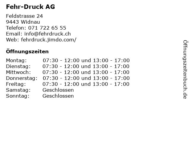 """e813459633 ᐅ Öffnungszeiten """"Fehr-Druck AG""""   Feldstrasse 24 in Widnau"""