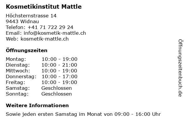 Kosmetikinstitut Mattle in Widnau: Adresse und Öffnungszeiten