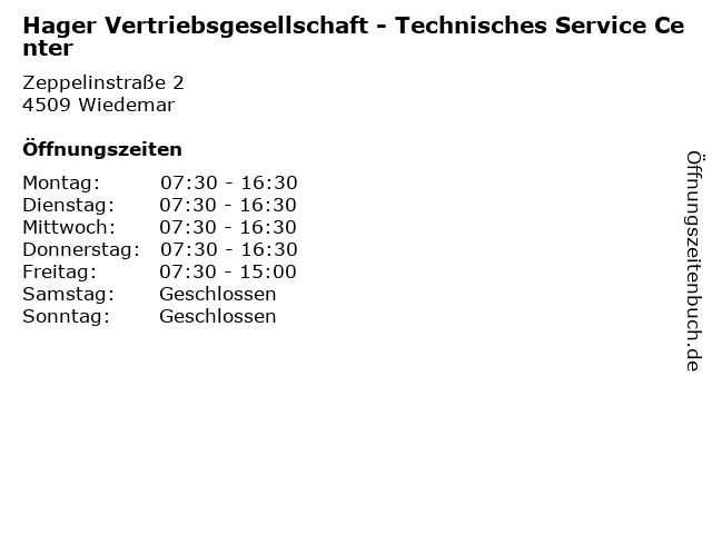 Hager Vertriebsgesellschaft - Technisches Service Center in Wiedemar: Adresse und Öffnungszeiten