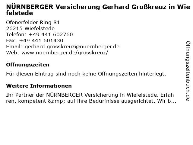 NÜRNBERGER Versicherung - Gerhard Großkreuz in Wiefelstede: Adresse und Öffnungszeiten