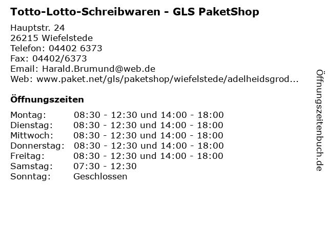 Totto-Lotto-Schreibwaren - GLS PaketShop in Wiefelstede: Adresse und Öffnungszeiten