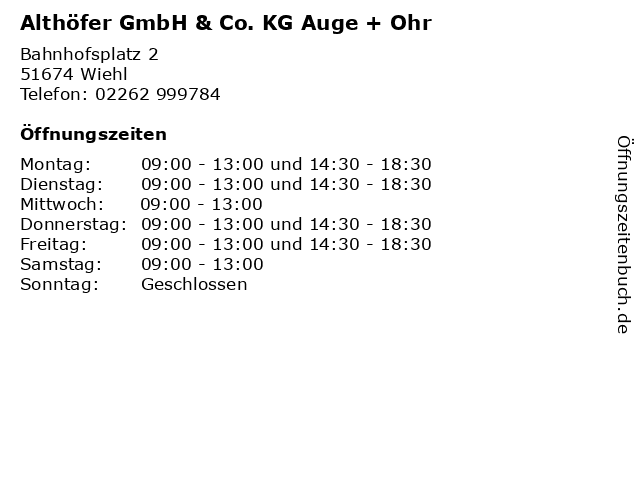Althöfer GmbH & Co. KG Auge + Ohr in Wiehl: Adresse und Öffnungszeiten
