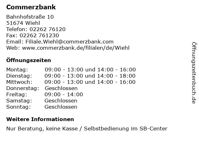 Commerzbank in Wiehl: Adresse und Öffnungszeiten