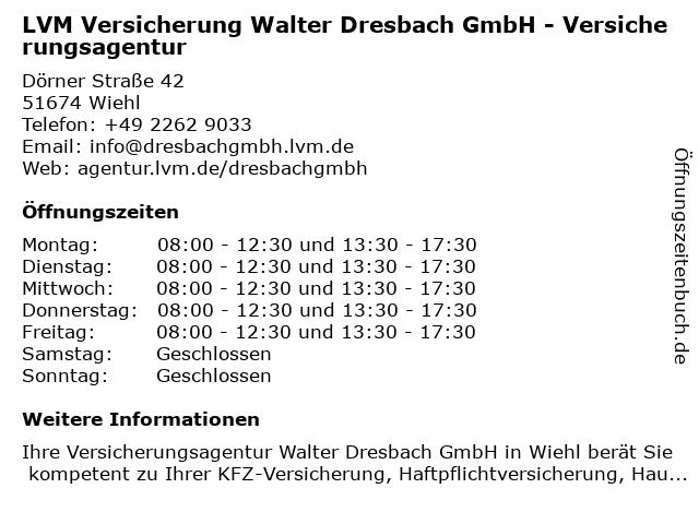 LVM Versicherung -Versicherungsagentur Walter Dresbach GmbH in Wiehl: Adresse und Öffnungszeiten