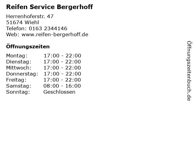 Reifen Service Bergerhoff in Wiehl: Adresse und Öffnungszeiten