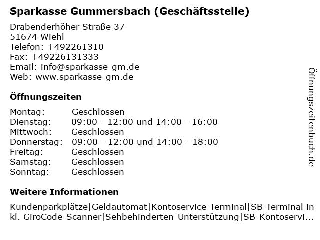Sparkasse Gummersbach in Wiehl: Adresse und Öffnungszeiten