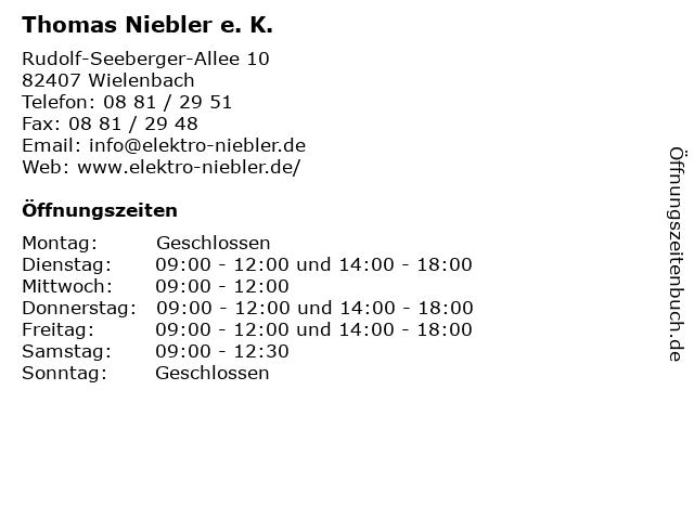 Thomas Niebler e. K. in Wielenbach: Adresse und Öffnungszeiten