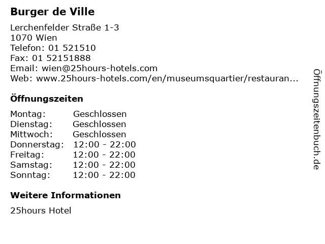 25hours Hotel   Burger de Ville in Wien: Adresse und Öffnungszeiten