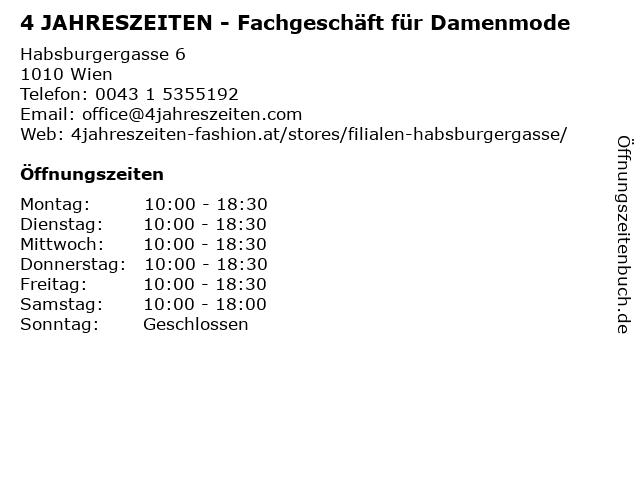 4 JAHRESZEITEN - Fachgeschäft für Damenmode in Wien: Adresse und Öffnungszeiten
