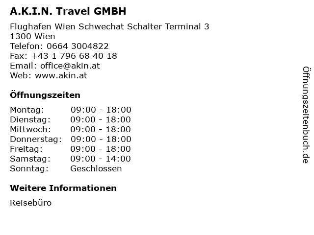 A.K.I.N. Travel GMBH in Wien: Adresse und Öffnungszeiten