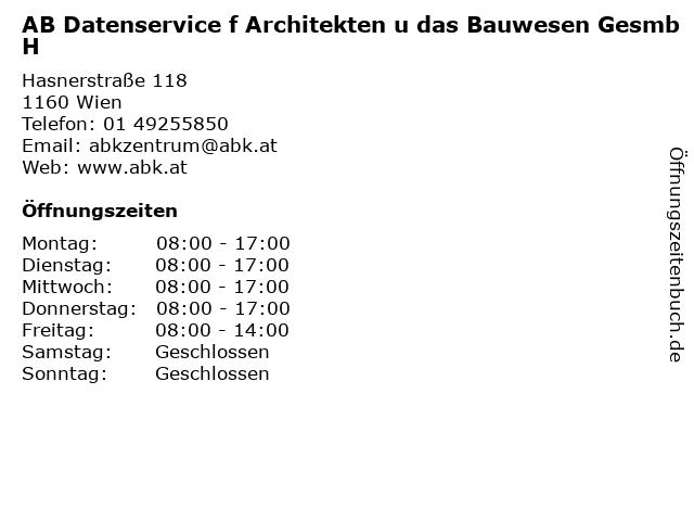 AB Datenservice f Architekten u das Bauwesen GesmbH in Wien: Adresse und Öffnungszeiten