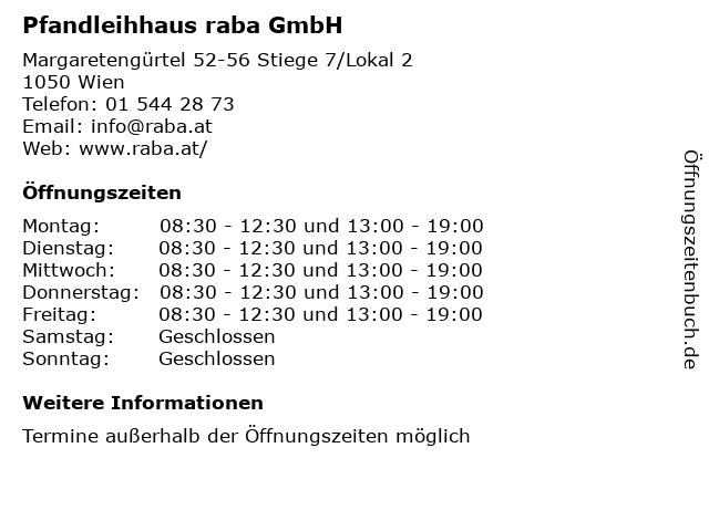 AB Pfandfinanz GmbH - Pfand-Service Wien in Wien: Adresse und Öffnungszeiten