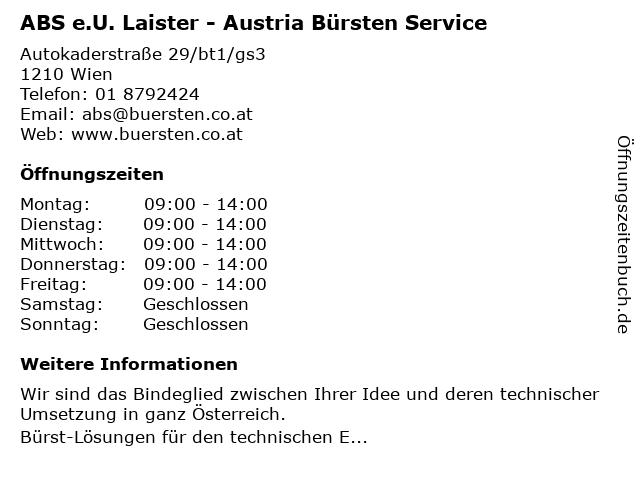 ABS e.U. Laister - Austria Bürsten Service in Wien: Adresse und Öffnungszeiten