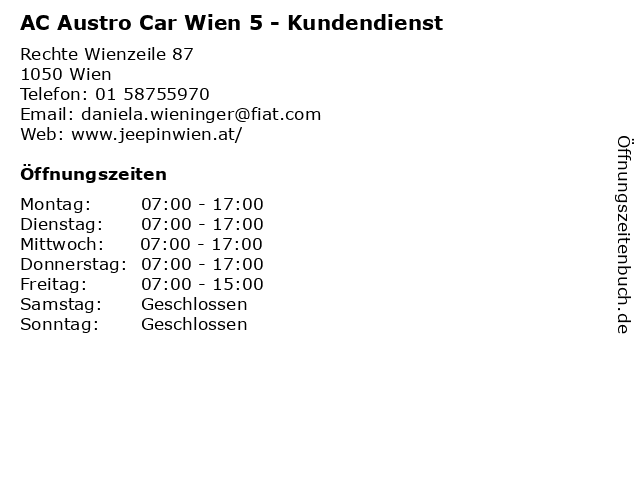 AC Austro Car Wien 5 - Kundendienst in Wien: Adresse und Öffnungszeiten