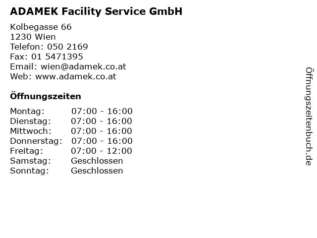 ADAMEK Facility Service GmbH in Wien: Adresse und Öffnungszeiten