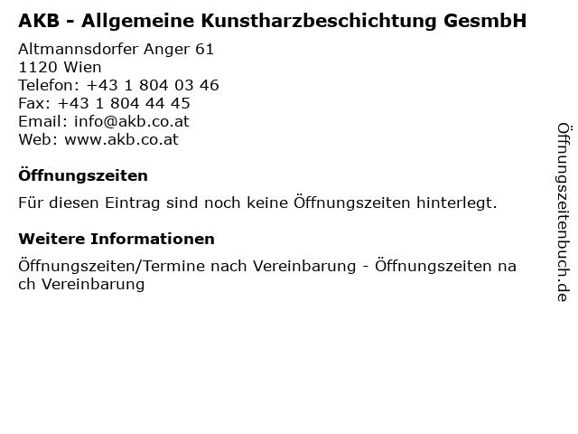 AKB - Allgemeine Kunstharzbeschichtung GesmbH in Wien: Adresse und Öffnungszeiten