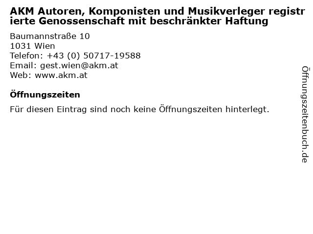 AKM Autoren, Komponisten und Musikverleger registrierte Genossenschaft mit beschränkter Haftung in Wien: Adresse und Öffnungszeiten