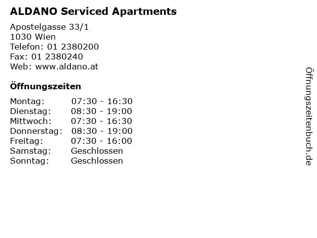 ALDANO Serviced Apartments in Wien: Adresse und Öffnungszeiten