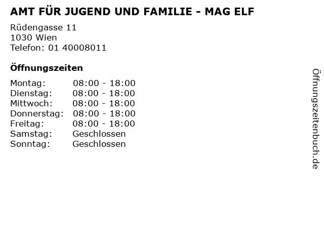 AMT FÜR JUGEND UND FAMILIE - MAG ELF in Wien: Adresse und Öffnungszeiten