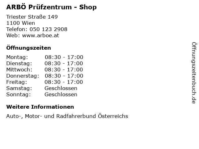 ARBÖ Prüfzentrum - Shop in Wien: Adresse und Öffnungszeiten