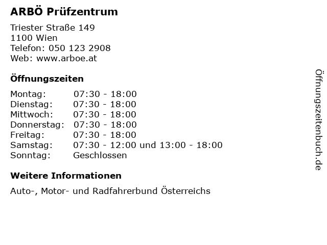 ARBÖ Prüfzentrum in Wien: Adresse und Öffnungszeiten