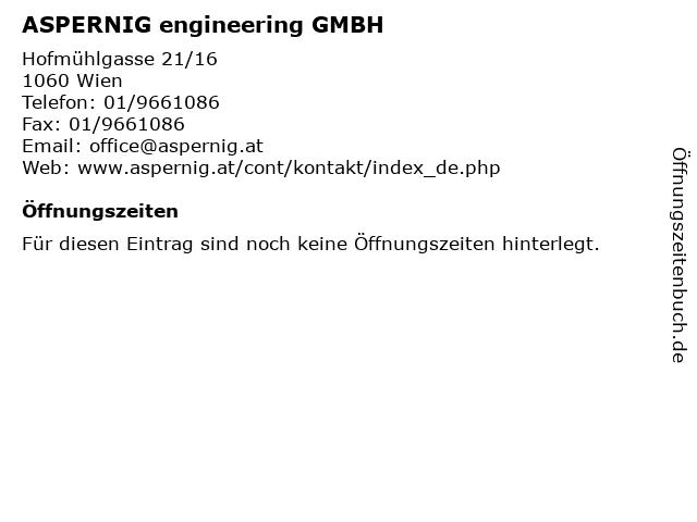 ASPERNIG engineering GMBH in Wien: Adresse und Öffnungszeiten