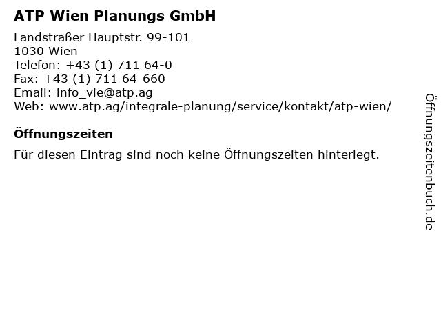 ATP Wien Planungs GmbH in Wien: Adresse und Öffnungszeiten