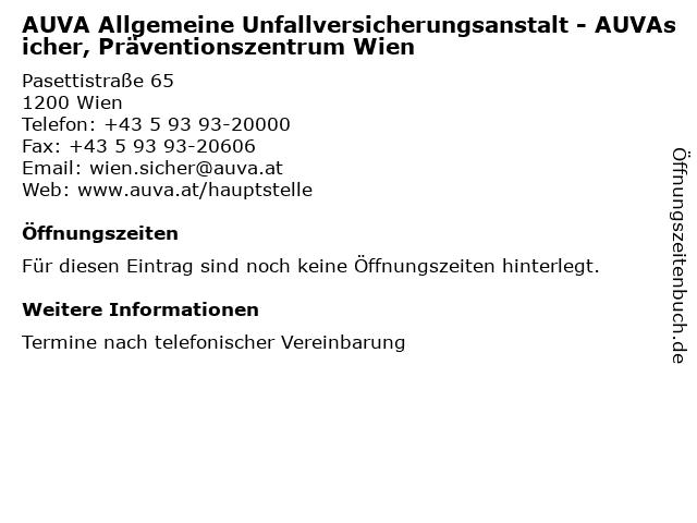 ᐅ öffnungszeiten Auva Allgemeine Unfallversicherungsanstalt