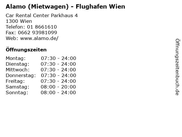 Alamo (Mietwagen) - Flughafen Wien in Wien: Adresse und Öffnungszeiten