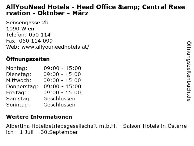 AllYouNeed Hotels - Head Office & Central Reservation - Oktober - März in Wien: Adresse und Öffnungszeiten