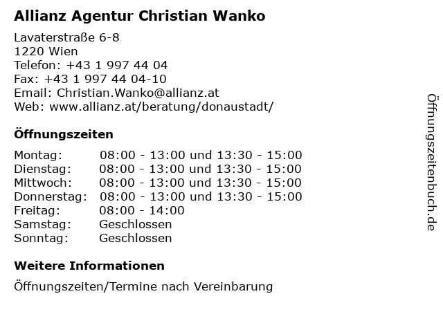 Allianz Agentur Christian Wanko in Wien: Adresse und Öffnungszeiten