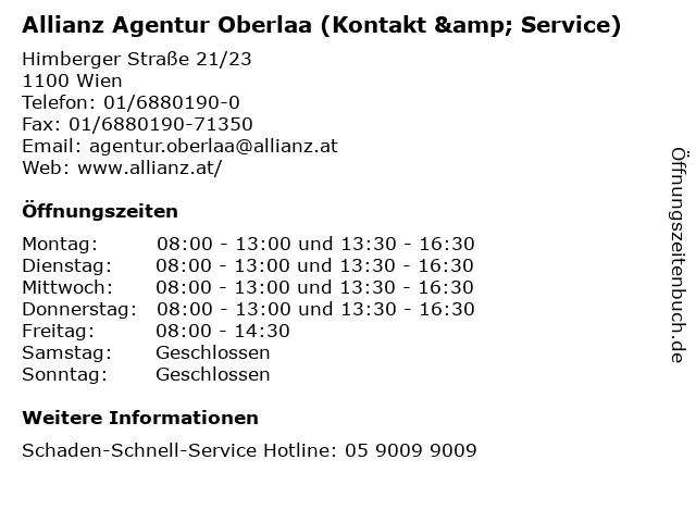 Allianz Agentur Oberlaa (Kontakt & Service) in Wien: Adresse und Öffnungszeiten