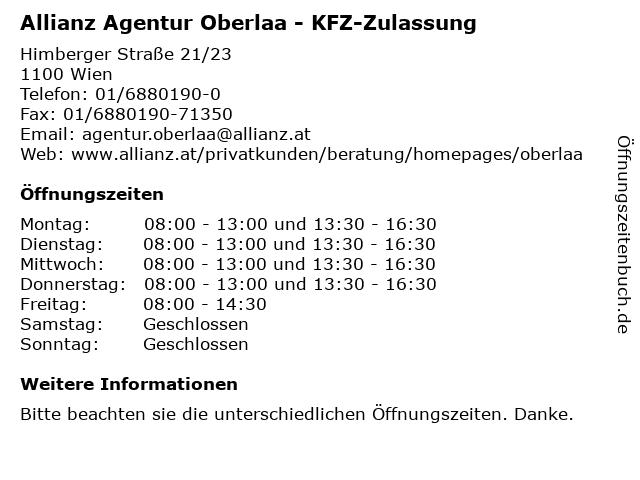 Allianz Agentur Oberlaa - KFZ-Zulassung in Wien: Adresse und Öffnungszeiten